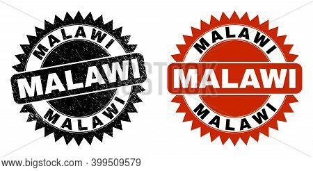Black Rosette Malawi Seal Stamp. Flat Vector Distress Seal Stamp With Malawi Text Inside Sharp Star