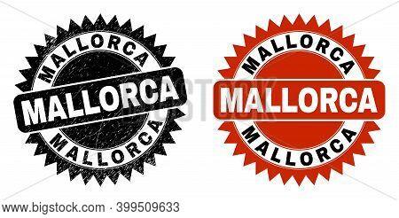 Black Rosette Mallorca Stamp. Flat Vector Distress Stamp With Mallorca Caption Inside Sharp Rosette,
