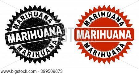 Black Rosette Marihuana Stamp. Flat Vector Grunge Seal Stamp With Marihuana Title Inside Sharp Roset