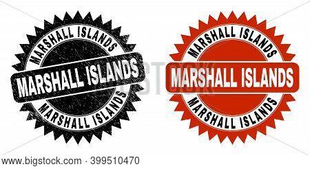 Black Rosette Marshall Islands Seal. Flat Vector Distress Seal With Marshall Islands Text Inside Sha