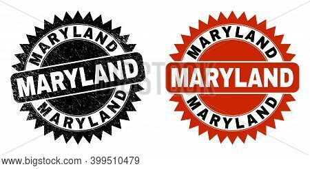 Black Rosette Maryland Stamp. Flat Vector Distress Watermark With Maryland Text Inside Sharp Rosette