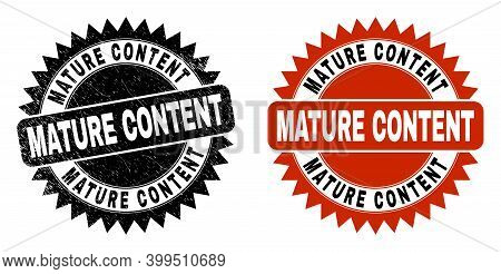 Black Rosette Mature Content Seal. Flat Vector Scratched Seal With Mature Content Text Inside Sharp