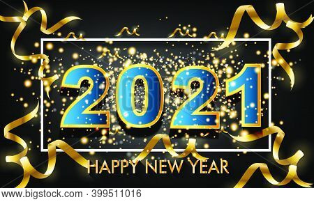 2021 New Year 3d Number Design Poster With Burst Glitter On Black Colour Background - Happy New Year