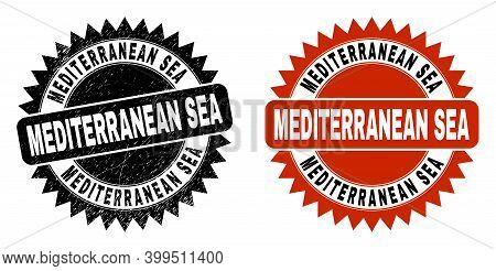 Black Rosette Mediterranean Sea Stamp. Flat Vector Distress Stamp With Mediterranean Sea Phrase Insi