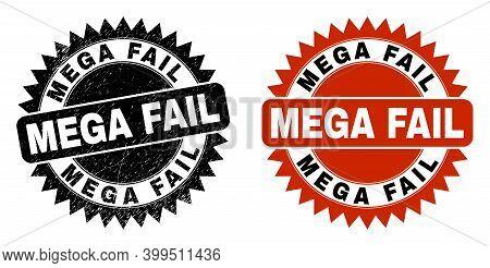 Black Rosette Mega Fail Watermark. Flat Vector Scratched Watermark With Mega Fail Text Inside Sharp