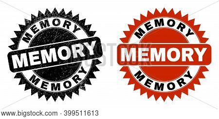 Black Rosette Memory Seal. Flat Vector Grunge Watermark With Memory Title Inside Sharp Rosette, And