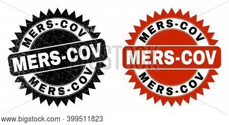 Black Rosette Mers-cov Stamp. Flat Vector Distress Seal Stamp With Mers-cov Phrase Inside Sharp Rose