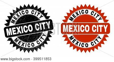 Black Rosette Mexico City Watermark. Flat Vector Distress Watermark With Mexico City Phrase Inside S