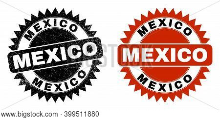 Black Rosette Mexico Stamp. Flat Vector Grunge Stamp With Mexico Message Inside Sharp Rosette, And O