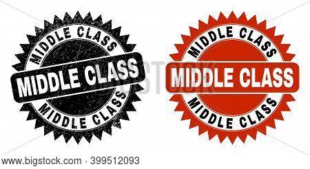 Black Rosette Middle Class Watermark. Flat Vector Distress Watermark With Middle Class Caption Insid