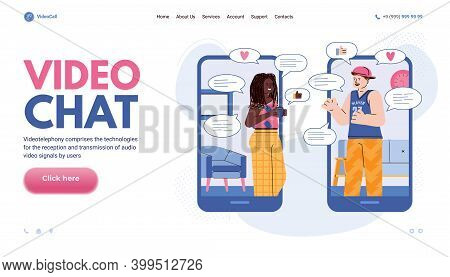 Web Banner With Two Young People Socialising In Video Chat Session, Cartoon Vector Illustration. Lan