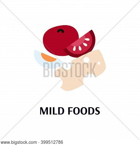 Mild Food Group - Tomato, Cheese And Egg Isolated On White Background. Bland Diet Elements In Flat C