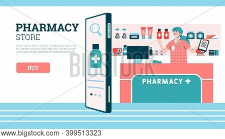 Pharmacy Store Web Banner Mockup With Cheerful Friendly Pharmacist Female Cartoon Character Stands A