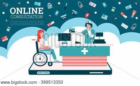 Online Consultation Website Banner Template For Medical Advice Of Doctor Or Pharmacy, Flat Cartoon V