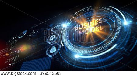 Business, Technology, Internet And Network Concept. Shows The Inscription: Business Model. 3d Illust