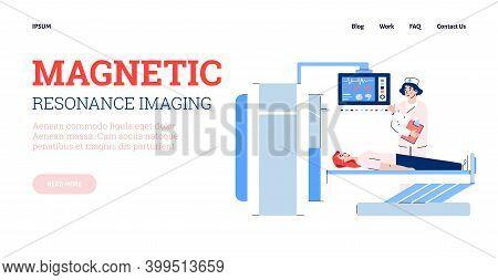 Magnetic Resonance Imaging Or Mri Scan Medial Diagnostic Method Web Banner, Flat Cartoon Vector Illu