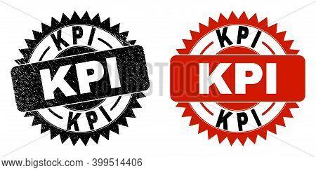 Black Rosette Kpi Seal Stamp. Flat Vector Distress Seal Stamp With Kpi Message Inside Sharp Rosette,