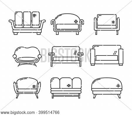 Comfortable sofa with pillow. Nine modern stylish object for relaxation. Image of couch in line art style. Element furniture of the interior. Flat illustration with settee on white background..