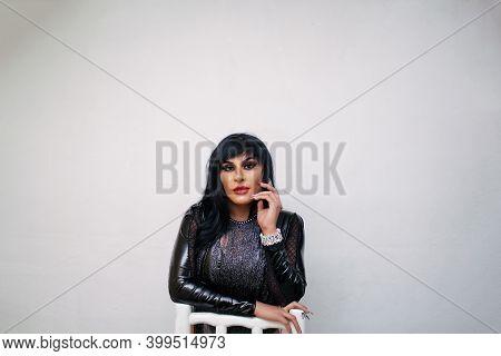 Fashion Hispanic Transgender Wearing Exotic Drag Queen Costume. Transsexual