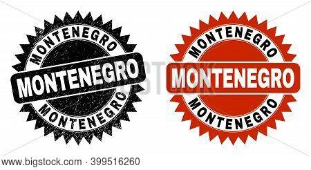 Black Rosette Montenegro Watermark. Flat Vector Scratched Watermark With Montenegro Text Inside Shar