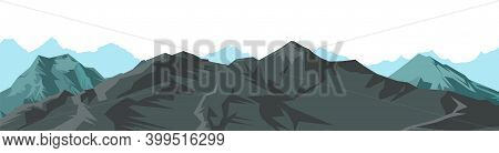 The Mountains. Mountain Range With Cliffs, Rocks And Peaks. Horizon. The Isolated Object On A White