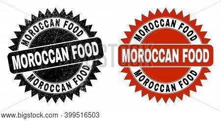 Black Rosette Moroccan Food Watermark. Flat Vector Textured Watermark With Moroccan Food Caption Ins
