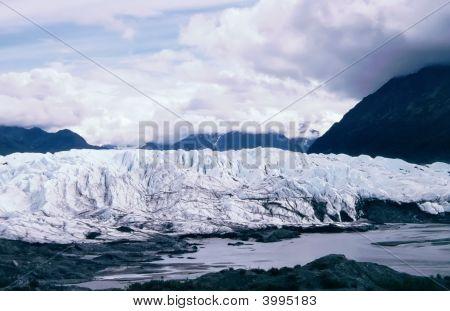 Matanuska Glacier Between Mountain Range