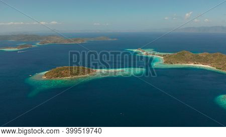 Aerial Drone Tropical Islands With Blue Lagoons, Coral Reef And Sandy Beach. Palawan, Philippines. I