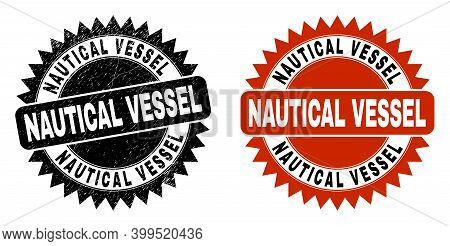 Black Rosette Nautical Vessel Watermark. Flat Vector Distress Seal With Nautical Vessel Caption Insi