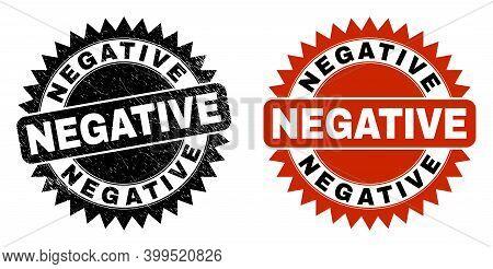 Black Rosette Negative Seal Stamp. Flat Vector Distress Seal Stamp With Negative Title Inside Sharp