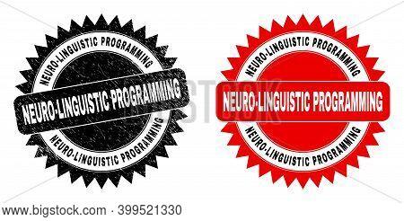 Black Rosette Neuro-linguistic Programming Watermark. Flat Vector Grunge Watermark With Neuro-lingui