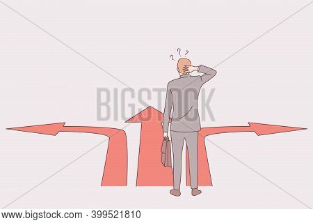 Strategy, Business Direction, Way Choice Concept. Businessman Standing At Crossroads And Thinking Ab