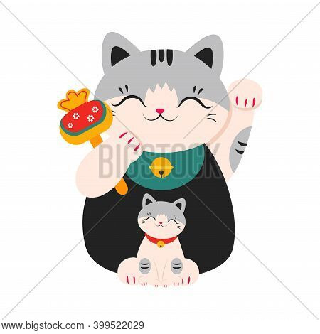 Japanese Maneki Neko, Japanese Symbol Of Good Luck And Wealth, Traditional Souvenir Of Japan, Lucky