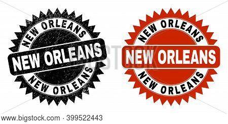 Black Rosette New Orleans Seal Stamp. Flat Vector Scratched Seal Stamp With New Orleans Message Insi