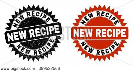 Black Rosette New Recipe Seal. Flat Vector Textured Seal Stamp With New Recipe Title Inside Sharp Ro