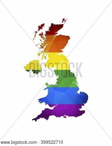 Vector Isolated Illustration With Simplified Map Shape Of United Kingdom Of Great Britain And Northe