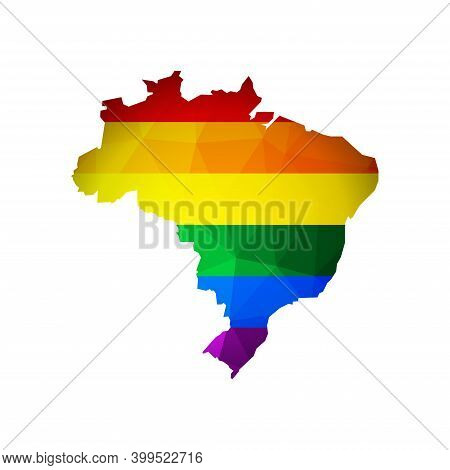Vector Flat Concept With Low Poly Map Of Brazil. Isolated Colorful Illustration With Rainbow Lgbt Fl
