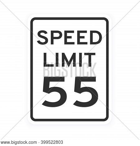 Speed Limit 55 Road Traffic Icon Sign Flat Style Design Vector Illustration Isolated On White Backgr