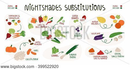 Nightshades Substitutions Infographics Banner. Food Which Needed To Be Avoid And What To Include For