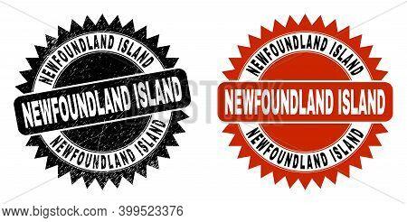 Black Rosette Newfoundland Island Seal Stamp. Flat Vector Textured Seal Stamp With Newfoundland Isla