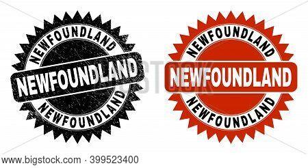 Black Rosette Newfoundland Seal Stamp. Flat Vector Textured Seal Stamp With Newfoundland Text Inside