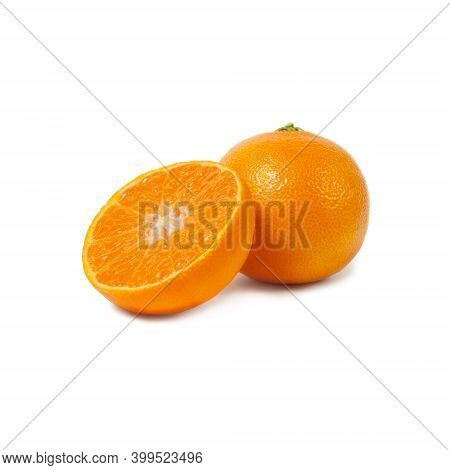 Ripe Tangerines And Slices Isolated On White Background