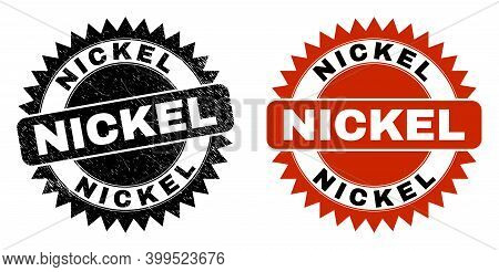 Black Rosette Nickel Stamp. Flat Vector Distress Stamp With Nickel Message Inside Sharp Rosette, And