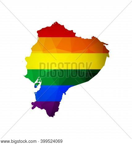 Vector Isolated Illustration With Low Poly Style Map Of Ecuador And Lgbt Rainbow Flag. Equal Rights