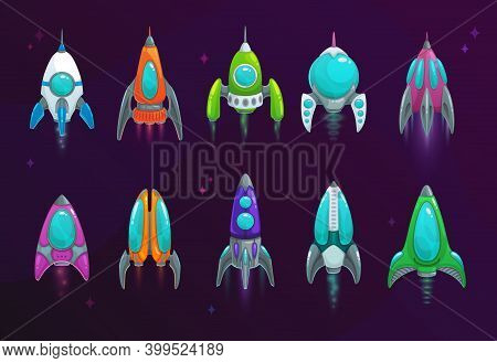 Cartoon Space Rockets Vector Space Ships Isolated Icons. Fantasy Vehicles For Travel In Outer Space,