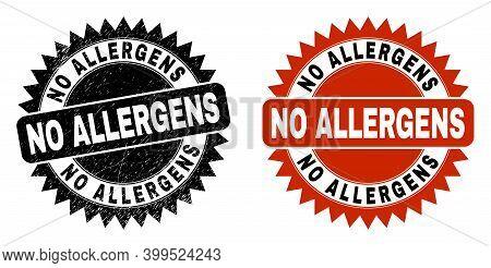 Black Rosette No Allergens Stamp. Flat Vector Grunge Watermark With No Allergens Caption Inside Shar