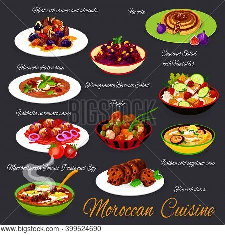 Moroccan Cuisine Food, Morocco Arabic Meals Menu, Vector Authentic Restaurant Dishes. Moroccan Cuisi