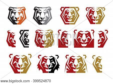 Tiger, Cougar Or Lioness Head Graphic Icons. Wildcat, Lion Or Panther Angry Face Vector. Geometrical