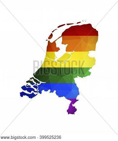 Vector Flat Concept With Netherlands Map In Polygonal Style. Atlas Is Colored In Rainbow Flag As Lgb