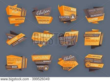 Gluten Free Eco Food Labels, Organic Natural Product Vector Tags Or Emblems With Crossed Wheat Ears.